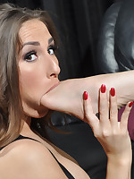 Paige really enjoys the taste of warm feet and sweaty nylons on her tongue.