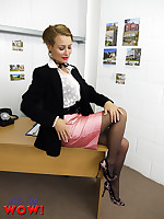 Estate agent Kelli Smith in pink miniskirt and black stockings becomes really hot after every sale she makes. Come and make her an offer too