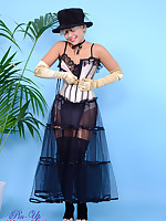 Glamorous Petra Lily So in satin corset, gloves and knee-socks knows how to tease