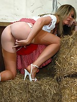 barn babe in nylons plays