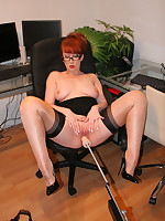 Secretary Red, fucked in the office by a machine