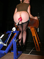 British MILF in stockings fucked by a fucking machine